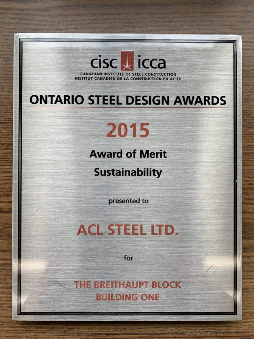 Ontario steel design awards 2015 award of merit sustainability