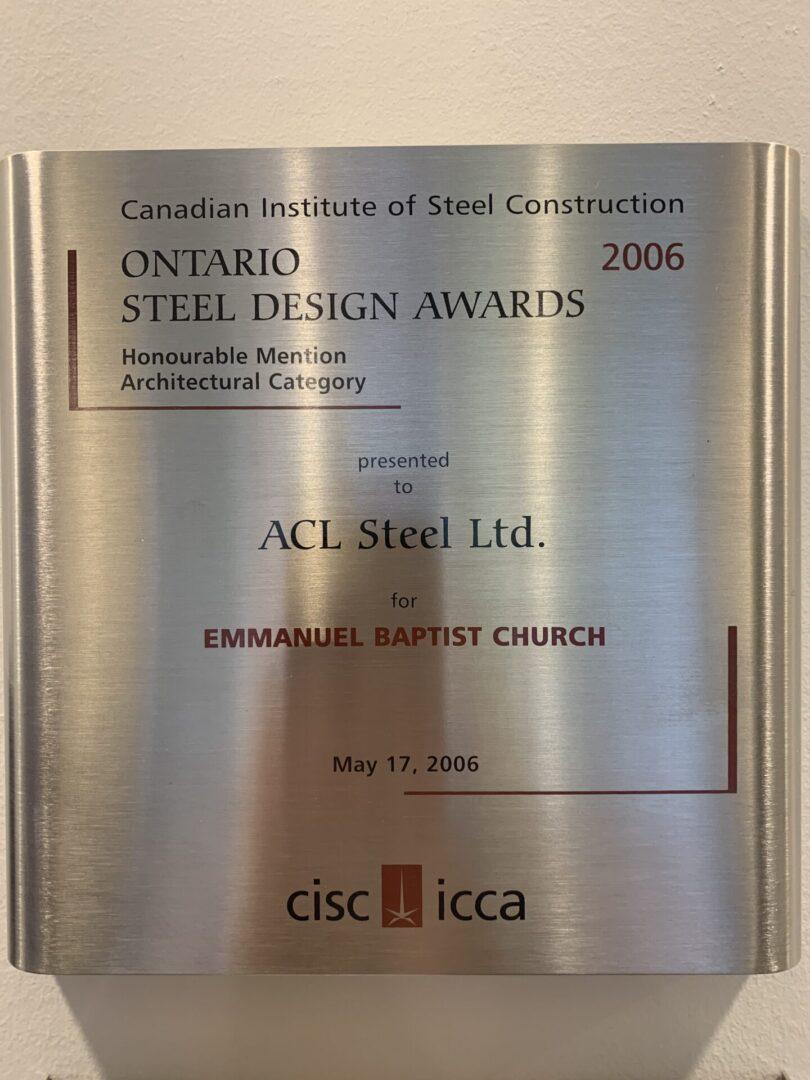 Ontario steel design awards 2006 silver plaque