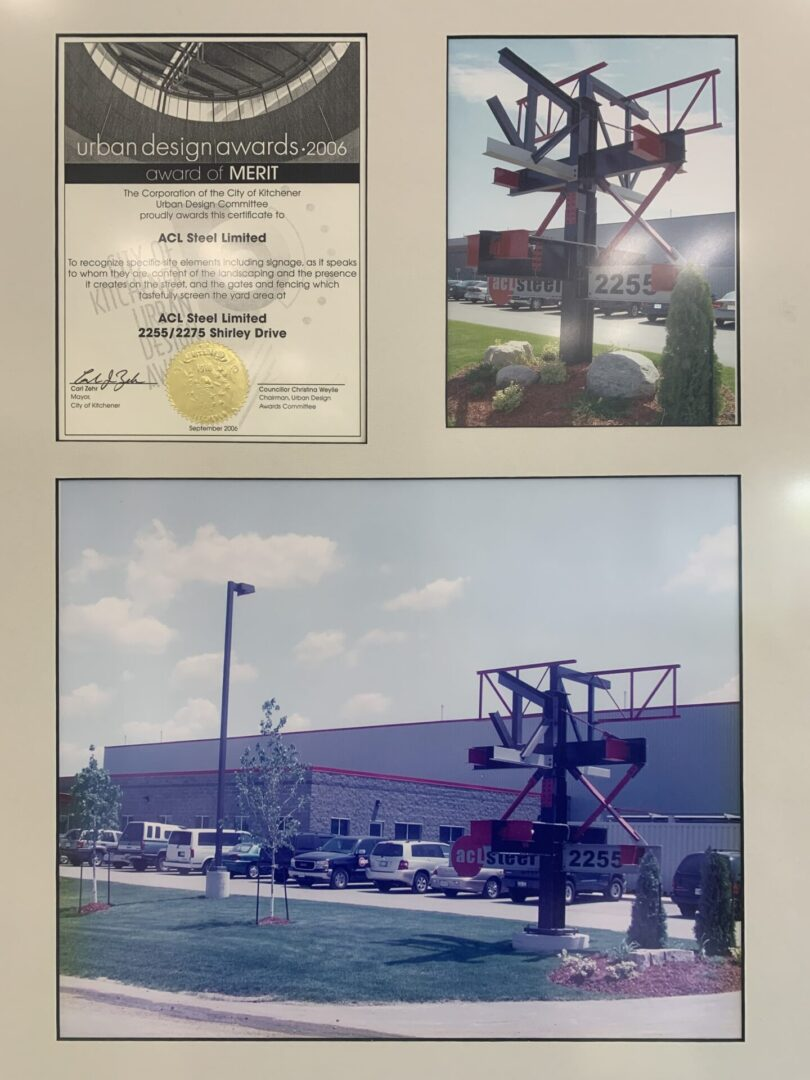a photo of a merit award and a parking lot